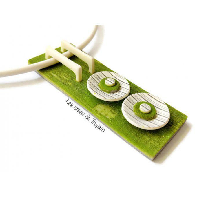 COLLIER RECTANGLE  BOIS USÉ VERT