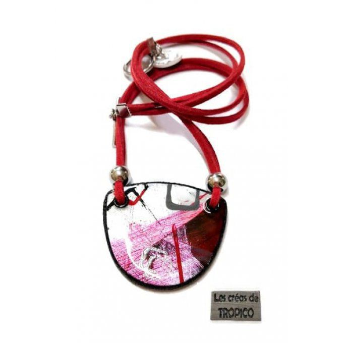 COLLIER  ABSTRAIT ROUGE ROSE POIS
