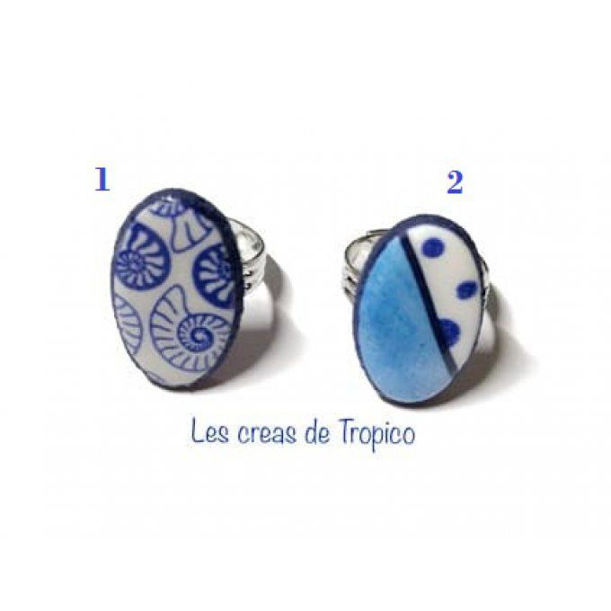BAGUE ESCARGOT MER JEANS POIS