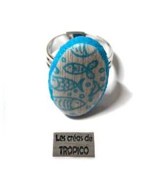 BAGUE TURQUOISE BOIS MER