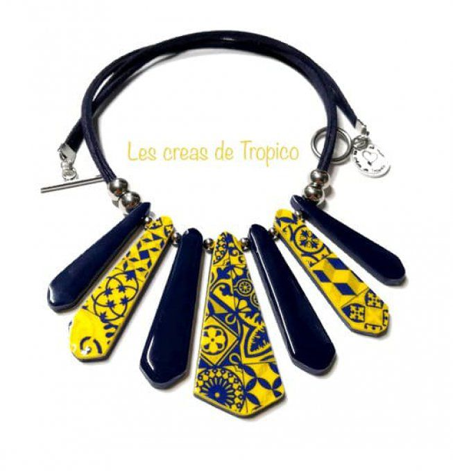 COLLIER FIMO CARREAU CARRELAGE BLEU JAUNE