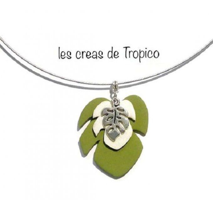 COLLIER FEUILLE PHILODENDRON VERT