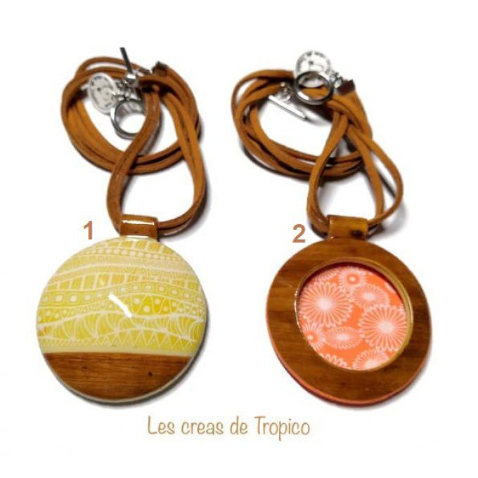 COLLIER BOIS MARRON FLEUR VAGUE