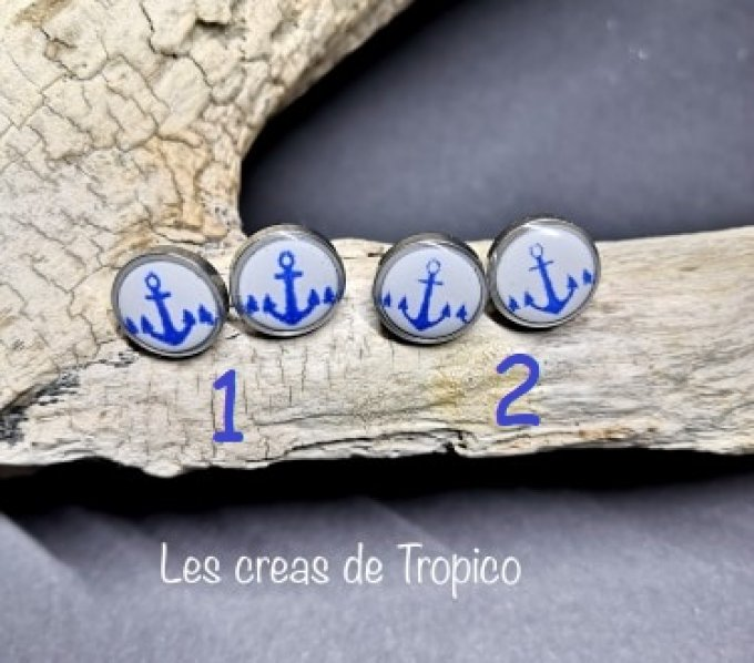PUCES OREILLES FIMO ANCRE MARINE