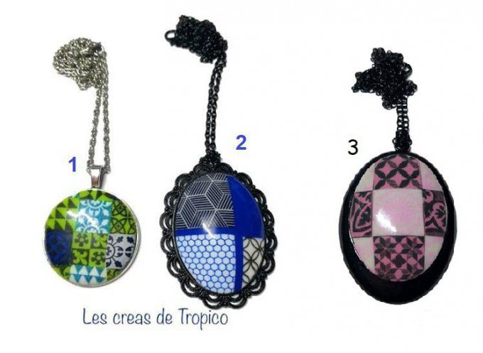 COLLIER CABOCHON BLEU ROSE